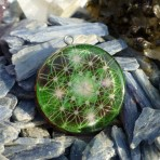 Metatron encoded inside green Flower of Life Orgone Pendant