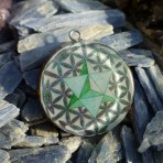 Merkaba inside Flower of Life Sacred Geometry Orgone Pendant