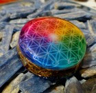 Colorful Flower of Life – Orgone Pendant programed with 528hz DNA repair