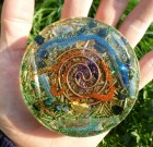 Healing / Recharging Orgone Plate (8 cm) GREEN COLOR  – BACK SIDE