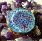 Flower of Life with Moldavite and Herkimer Spiritual Orgone Pendant