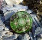 Metatron encoded inside green Flower of Life Orgone Pendant