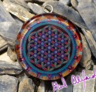DNA Flower of Life – Mandala by Gail Alexander – Special Orgone Pendant ( 8 CRYSTALS )