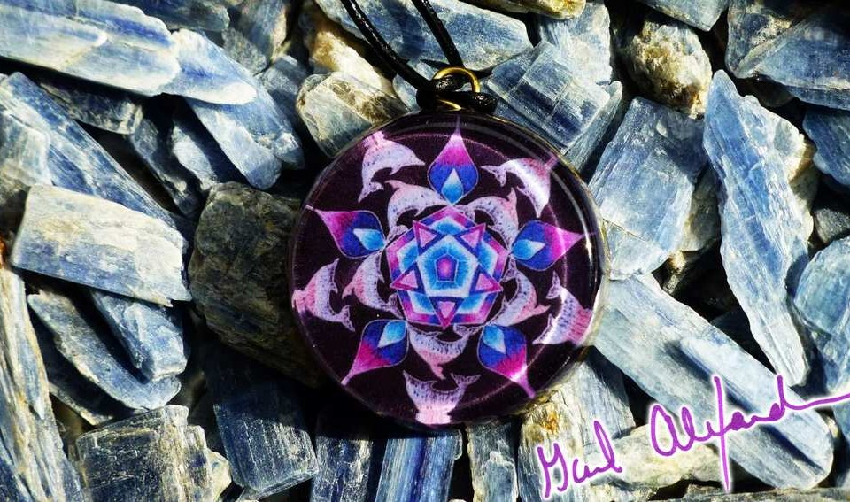 Dolphins and the Power of Five with LARIMAR – Mandala by Gail Alexander – Special Orgone Pendant