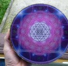 Orgone Plate 20 cm, 2 Kg with crystal sphere, programed with Brandberg Crystal, custom picture/pattern, shipibo, shamanic