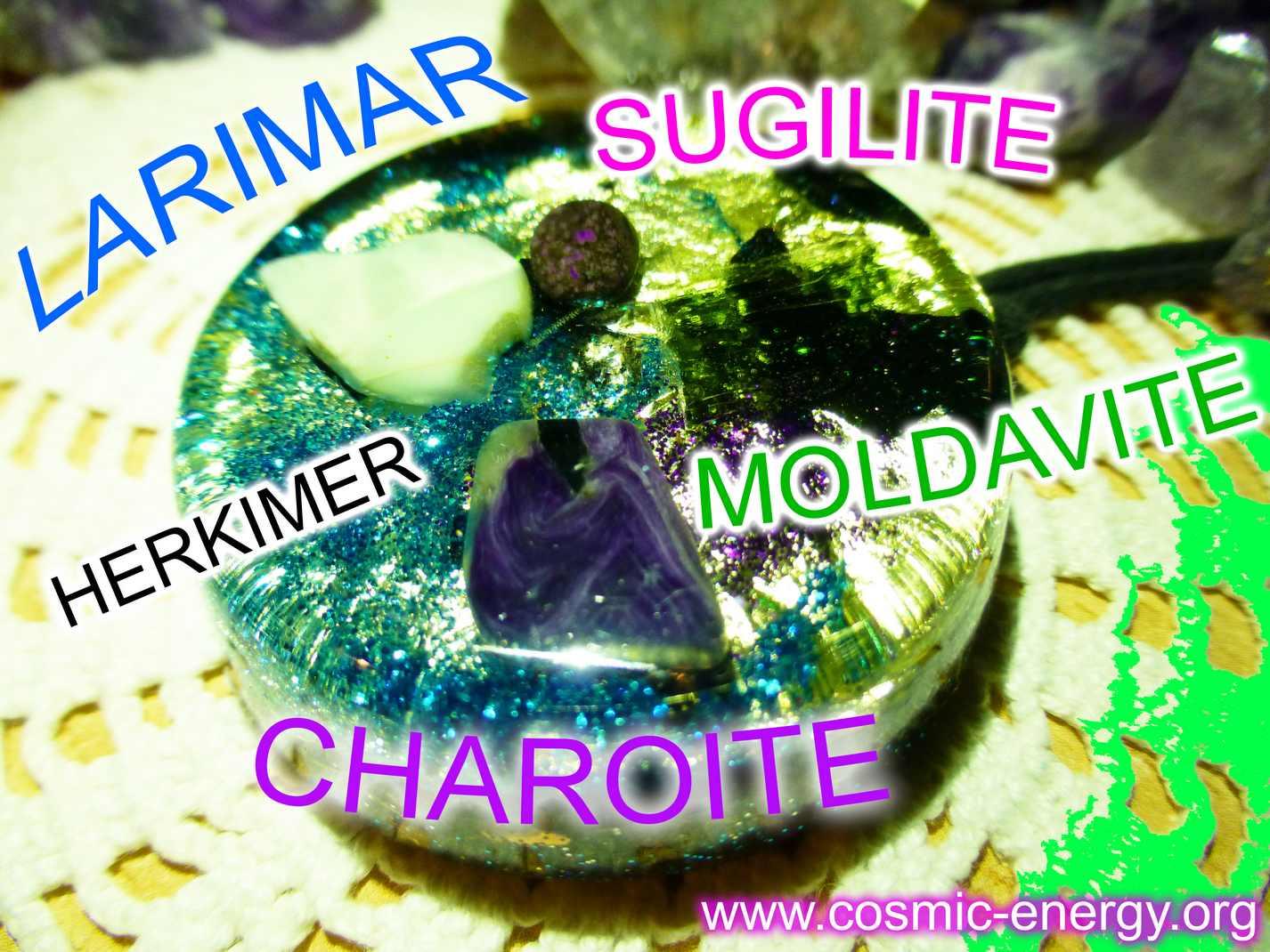 moldavite larimar charoite herkimer sugilite orgone pendant cosmic energy