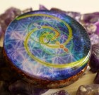 Deep Space encoded with Vesica Pisces Fibonacci Infinity and 7 Chakra 's – Orgone Pendant
