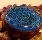 Blue Flower of Life Orgone Pendant