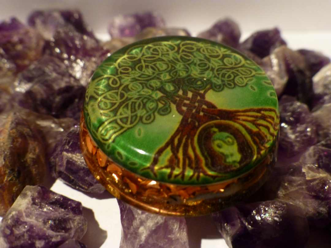 Unique spiritual orgone pendant with tree of life on front side unique spiritual orgone pendant mozeypictures Choice Image