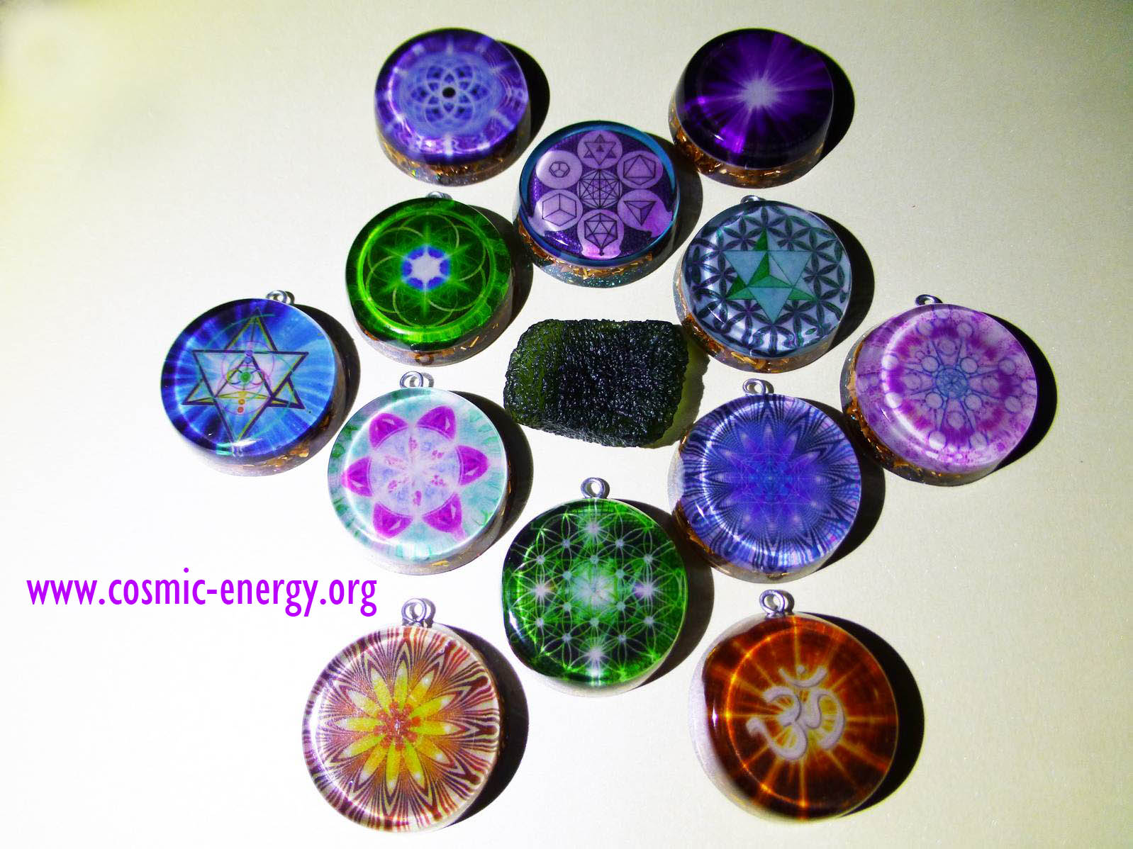Metatron encoded inside green flower of life orgone pendant orgone sacred geometry aloadofball Gallery