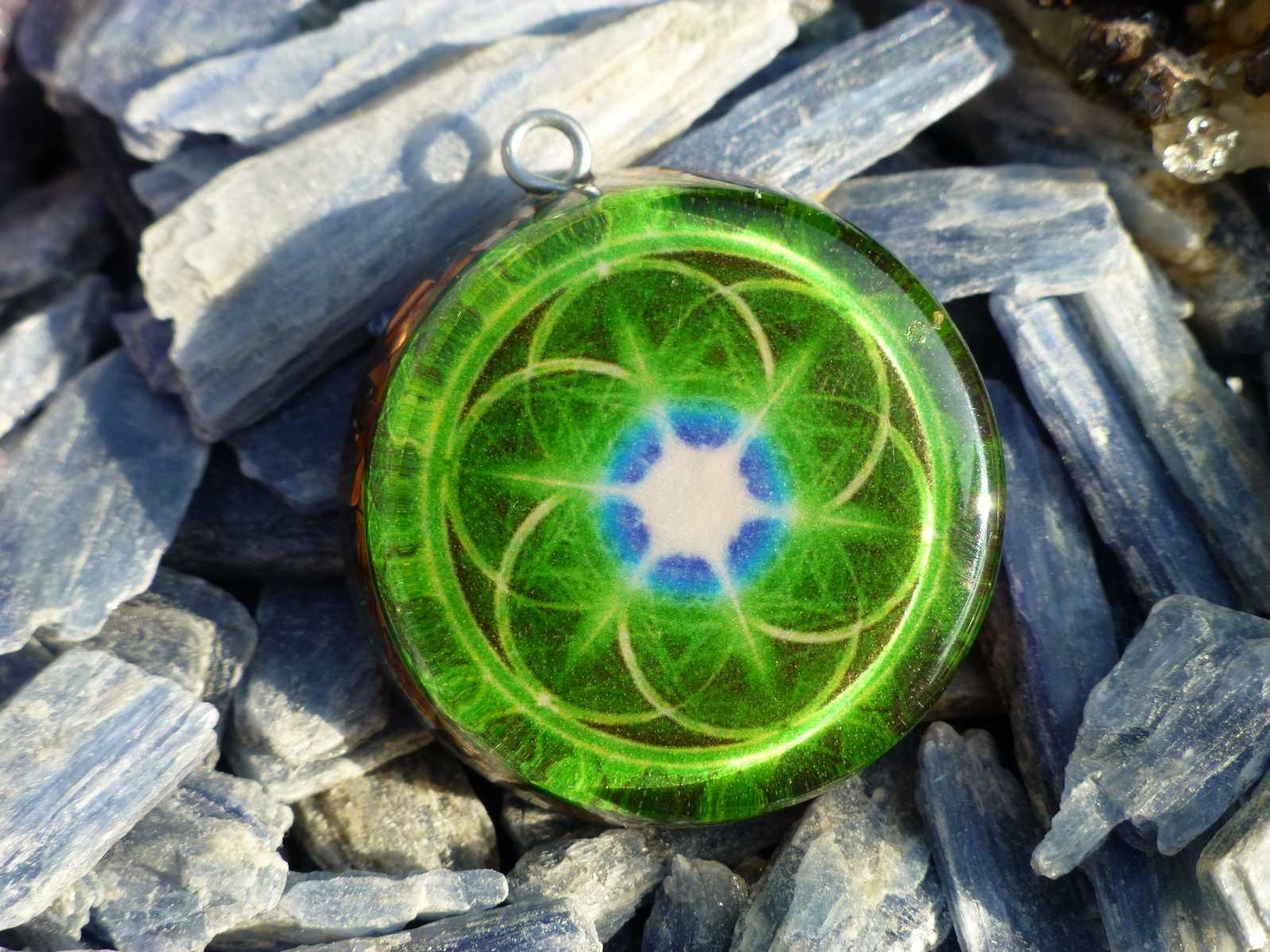 Green seed of life sacred geometry orgone pendant orgone pendants green seed of life sacred geometry orgone pendant mozeypictures Choice Image