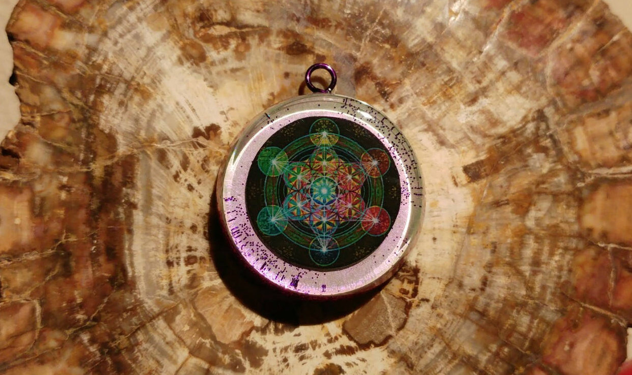 Metatrons cube orgonite necklace orgone pendants by cosmic energy metatron cube aloadofball Gallery